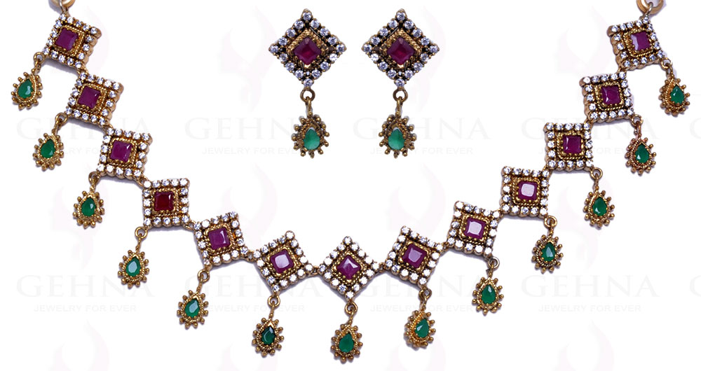 9aec25b8e8efe BEAUTIFUL RUBY & EMERALD COLOR STONE STUDDED ANTIQUE LOOKING NECKLACE  SET-FN1118